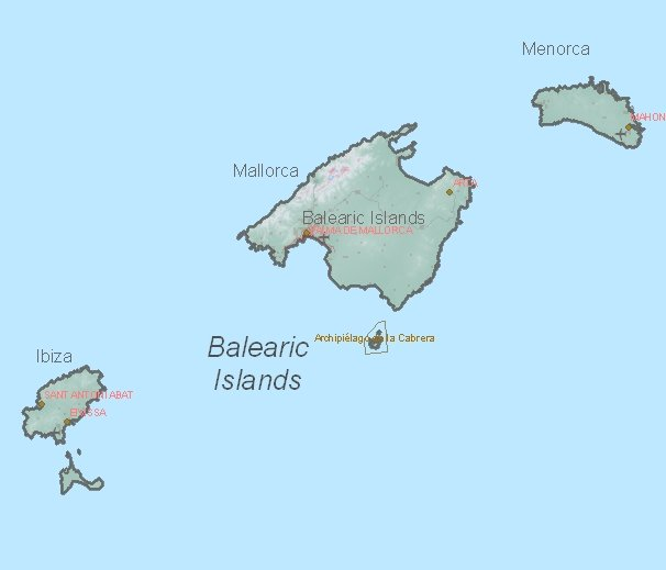Tourist map of Balearic Islands