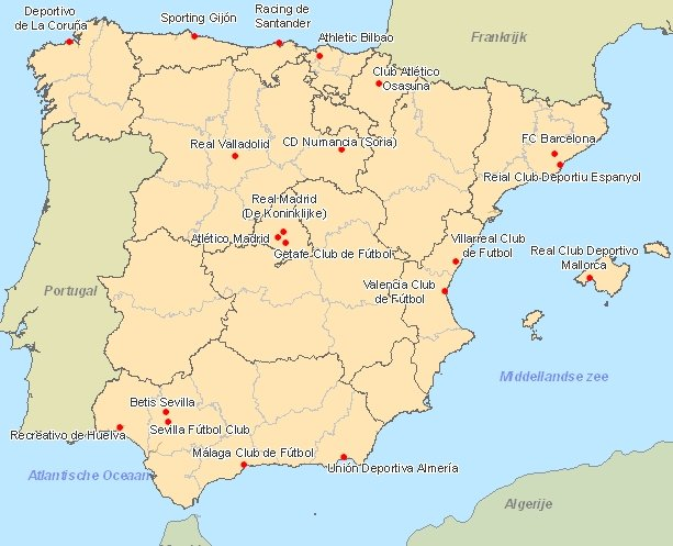 Map of Primera Division: Spanish league (Spanish football)